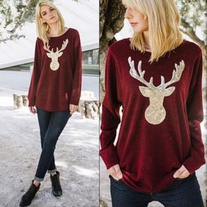 Lg Burgundy Sweatshirt with Gold Sequin Reindeer
